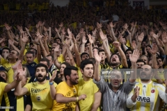 Fenerbahce's supporters cheer for their team during the first place basketball match between Fenerbahce and Olympiacos at the Euroleague Final Four basketball matches at Sinan Erdem sport Arena, on May 21, 2017 in Istanbul.  / AFP PHOTO / OZAN KOSE        (Photo credit should read OZAN KOSE/AFP via Getty Images)