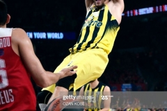 Fenerbahce's Chezh forward Jan Vesely scores a basket during the first place basketball match between Fenerbahce and Olympiacos at the Euroleague Final Four basketball matches at Sinan Erdem sport Arena, on May 21, 2017 in Istanbul.  / AFP PHOTO / OZAN KOSE        (Photo credit should read OZAN KOSE/AFP via Getty Images)