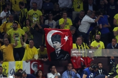ISTANBUL, TURKEY - MAY 21: A flag of Mustafa Kemal Ataturk, the founder of modern Turkey during the Championship Game 2017 Turkish Airlines EuroLeague Final Four between Fenerbahce Istanbul v Olympiacos Piraeus at Sinan Erdem Dome on May 21, 2017 in Istanbul, Turkey.  (Photo by Tolga Adanali/Euroleague Basketball via Getty Images)