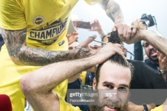 ISTANBUL, TURKEY - MAY 21:  Pero Antic, #12 of Fenerbahce Istanbul and Luigi Datome, #70 of Fenerbahce Istanbul during the 2017 Final Four Istanbul Turkish Airlines EuroLeague Champion Trophy Ceremony at Sinan Erdem Dome on May 21, 2017 in Istanbul, Turkey.  (Photo by Patrick Albertini/Euroleague Basketball via Getty Images)