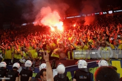 ISTANBUL, TURKEY - MAY 21: Supporters  in action during the Championship Game 2017 Turkish Airlines EuroLeague Final Four between Fenerbahce Istanbul v Olympiacos Piraeus at Sinan Erdem Dome on May 21, 2017 in Istanbul, Turkey.  (Photo by Edu Candel/Euroleague Basketball via Getty Images)