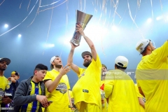 ISTANBUL, TURKEY - MAY 21:  Fenerbahce's players celebrate during the 2017 Final Four Istanbul Turkish Airlines EuroLeague Champion Trophy Ceremony at Sinan Erdem Dome on May 21, 2017 in Istanbul, Turkey.  (Photo by Francesco Richieri/Euroleague Basketball via Getty Images)