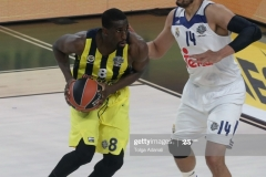 ISTANBUL, TURKEY - MAY 19: Ekpe Udoh, #8 of Fenerbahce Istanbul competes with  Gustavo Ayon, #14 of Real Madrid during the Turkish Airlines EuroLeague Final Four Semifinal A game between Fenerbahce Istanbul v Real  Madrid at Sinan Erdem Dome on May 19, 2017 in Istanbul, Turkey.  (Photo by Tolga Adanali/Euroleague Basketball via Getty Images)