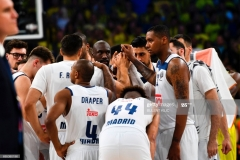 Real Madrid's players react after losing the semi-final basketball match between Fenerbahce Ulker vs Real Madrid at the Euroleague Final Four basketball matches at Sinan Erdem sport Arena on May 19, 2017 in Istanbul.  / AFP PHOTO / BULENT KILIC        (Photo credit should read BULENT KILIC/AFP via Getty Images)