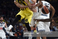 Fenerbahce Kostas Sloukas (L) vies with Real Madrid Anthony Randolph (R) during the semi-final basketball match between Fenerbahce Ulker vs Real Madrid at the Euroleague Final Four basketball matches at Sinan Erdem sport Arena on May 19, 2017 in Istanbul.  / AFP PHOTO / OZAN KOSE        (Photo credit should read OZAN KOSE/AFP via Getty Images)
