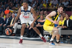 ISTANBUL, TURKEY - MAY 19:  Trey Thompinks, #33 of Real Madrid in action during the Turkish Airlines EuroLeague Final Four Semifinal A game between Fenerbahce Istanbul v Real  Madrid at Sinan Erdem Dome on May 19, 2017 in Istanbul, Turkey.  (Photo by Rodolfo Molina/Euroleague Basketball via Getty Images)