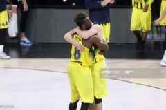ISTANBUL, TURKEY - MAY 19:  Ekpe Udoh, #8 of Fenerbahce Istanbul celebrates his victory with his team mate during the Turkish Airlines EuroLeague Final Four Semifinal A game between Fenerbahce Istanbul v Real  Madrid at Sinan Erdem Dome on May 19, 2017 in Istanbul, Turkey.  (Photo by Tolga Adanali/Euroleague Basketball via Getty Images)