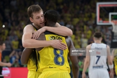 ISTANBUL, TURKEY - MAY 19:  Jan Vesely, #24 of Fenerbahce Istanbul and Ekpe Udoh, #8 of Fenerbahce Istanbul celebrates at the end of the Turkish Airlines EuroLeague Final Four Semifinal A game between Fenerbahce Istanbul v Real  Madrid at Sinan Erdem Dome on May 19, 2017 in Istanbul, Turkey.  (Photo by Rodolfo Molina/Euroleague Basketball via Getty Images)