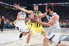 ISTANBUL, TURKEY - MAY 19:  Sergio Llull, #23 of Real Madrid competes with Nikola Kalinic,Ê#33 of Fenerbahce Istanbul during the Turkish Airlines EuroLeague Final Four Semifinal A game between Fenerbahce Istanbul v Real  Madrid at Sinan Erdem Dome on May 19, 2017 in Istanbul, Turkey.  (Photo by Patrick Albertini/Euroleague Basketball via Getty Images)