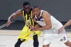 ISTANBUL, TURKEY - MAY 19: Ekpe Udoh, #8 of Fenerbahce Istanbul in action with Anthony Randolph, #3 of Real Madrid during the Turkish Airlines EuroLeague Final Four Semifinal A game between Fenerbahce Istanbul v Real  Madrid at Sinan Erdem Dome on May 19, 2017 in Istanbul, Turkey.  (Photo by Tolga Adanali/Euroleague Basketball via Getty Images)