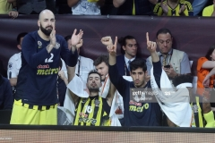 ISTANBUL, TURKEY - MAY 19: From left to right Pero Antic, #12, Nikola Kalinic,Ê#33 and Ahmet Duverioglu, #44 of Fenerbahce Istanbul during the Turkish Airlines EuroLeague Final Four Semifinal A game between Fenerbahce Istanbul v Real  Madrid at Sinan Erdem Dome on May 19, 2017 in Istanbul, Turkey.  (Photo by Tolga Adanali/Euroleague Basketball via Getty Images)