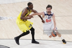 ISTANBUL, TURKEY - MAY 19: Sergio Llull, #23 of Real Madrid competes withEkpe Udoh, #8 of Fenerbahce Istanbul in action during the Turkish Airlines EuroLeague Final Four Semifinal A game between Fenerbahce Istanbul v Real  Madrid at Sinan Erdem Dome on May 19, 2017 in Istanbul, Turkey.  (Photo by Edu Candel/Euroleague Basketball via Getty Images)