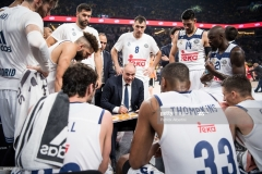 ISTANBUL, TURKEY - MAY 19:  Pablo Laso, Head Coach of Real Madrid during a timeout in the Turkish Airlines EuroLeague Final Four Semifinal A game between Fenerbahce Istanbul v Real  Madrid at Sinan Erdem Dome on May 19, 2017 in Istanbul, Turkey.  (Photo by Patrick Albertini/Euroleague Basketball via Getty Images)