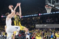 ISTANBUL, TURKEY - MAY 19:  Luka Doncic, #7 of Real Madrid competes with Nikola Kalinic,Ê#33 of Fenerbahce Istanbul during the Turkish Airlines EuroLeague Final Four Semifinal A game between Fenerbahce Istanbul v Real  Madrid at Sinan Erdem Dome on May 19, 2017 in Istanbul, Turkey.  (Photo by Patrick Albertini/Euroleague Basketball via Getty Images)