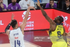 ISTANBUL, TURKEY - MAY 19: Gustavo Ayon, #14 of Real Madrid competes with Ekpe Udoh, #8 of Fenerbahce Istanbul during the Turkish Airlines EuroLeague Final Four Semifinal A game between Fenerbahce Istanbul and Real  Madrid at Sinan Erdem Dome on May 19, 2017 in Istanbul, Turkey.  (Photo by Tolga Adanali/Euroleague Basketball via Getty Images)