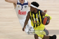 ISTANBUL, TURKEY - MAY 19: Bobby Dixon, #35 of Fenerbahce Istanbul competes with Luka Doncic, #7 of Real Madrid during the Turkish Airlines EuroLeague Final Four Semifinal A game between Fenerbahce Istanbul and Real  Madrid at Sinan Erdem Dome on May 19, 2017 in Istanbul, Turkey.  (Photo by Tolga Adanali/Euroleague Basketball via Getty Images)