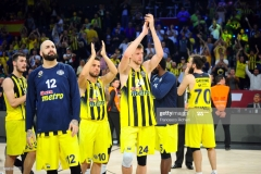 ISTANBUL, TURKEY - MAY 19:  Pero Antic, #12 of Fenerbahce Istanbul, Melih Mahmutoglu, #10 of Fenerbahce Istanbul and Jan Vesely, #24 of Fenerbahce Istanbul after the Turkish Airlines EuroLeague Final Four Semifinal A game between Fenerbahce Istanbul v Real  Madrid at Sinan Erdem Dome on May 19, 2017 in Istanbul, Turkey.  (Photo by Francesco Richieri/Euroleague Basketball via Getty Images)