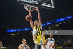 Fenerbahce's Jan Vesely scores against Real Madrid during the semi-final basketball match between Fenerbahce Ulker vs Real Madrid at the Euroleague Final Four basketball matches at Sinan Erdem sport Arena on May 19, 2017 in Istanbul.  / AFP PHOTO / BULENT KILIC        (Photo credit should read BULENT KILIC/AFP via Getty Images)