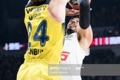 ISTANBUL, TURKEY - MAY 19:  Gustavo Ayon, #14 of Real Madrid competes with Jan Vesely, #24 of Fenerbahce Istanbul during the Turkish Airlines EuroLeague Final Four Semifinal A game between Fenerbahce Istanbul v Real  Madrid at Sinan Erdem Dome on May 19, 2017 in Istanbul, Turkey.  (Photo by Patrick Albertini/Euroleague Basketball via Getty Images)