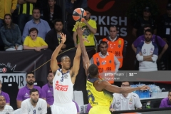 ISTANBUL, TURKEY - MAY 19: Anthony Randolph, #3 of Real Madrid competes with Ekpe Udoh, #8 of Fenerbahce Istanbul during the Turkish Airlines EuroLeague Final Four Semifinal A game between Fenerbahce Istanbul and Real  Madrid at Sinan Erdem Dome on May 19, 2017 in Istanbul, Turkey.  (Photo by Tolga Adanali/Euroleague Basketball via Getty Images)