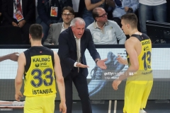 ISTANBUL, TURKEY - MAY 19: Zeljko Obradovic, Head Coach of Fenerbahce Istanbul in action with Bogdan Bogdanovic, #13 during the Turkish Airlines EuroLeague Final Four Semifinal A game between Fenerbahce Istanbul v Real  Madrid at Sinan Erdem Dome on May 19, 2017 in Istanbul, Turkey.  (Photo by Tolga Adanali/Euroleague Basketball via Getty Images)