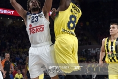 Real Madrid Sergio Llull (L) vies with Fenerbahce Ekpe Udoh during the semi-final basketball match between Fenerbahce Ulker vs Real Madrid at the Euroleague Final Four at Sinan Erdem sport arena on May 19, 2017 in Istanbul.  / AFP PHOTO / OZAN KOSE        (Photo credit should read OZAN KOSE/AFP via Getty Images)