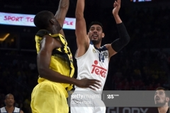 Real Madrid Gustavo Ayon (R) vies with Fenerbahce's Ekpe Udoh during the semi-final basketball match between Fenerbahce Ulker vs Real Madrid at the Euroleague Final Four at Sinan Erdem sport arena on May 19, 2017 in Istanbul.  / AFP PHOTO / OZAN KOSE        (Photo credit should read OZAN KOSE/AFP via Getty Images)