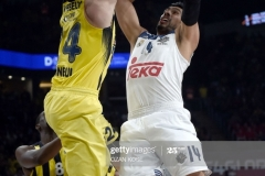 Real Madrid Gustavo Ayon (R) vies with Fenerbahce Jan Vesely during the semi-final basketball match between Fenerbahce Ulker vs Real Madrid at the Euroleague Final Four at Sinan Erdem sport arena on May 19, 2017 in Istanbul.  / AFP PHOTO / OZAN KOSE        (Photo credit should read OZAN KOSE/AFP via Getty Images)