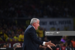 Fenerbahce's head coach Zeljko Abrodovic reacts during the semi-final basketball match between Olympiacos Piraeus and CSKA Moscow at the Euroleague Final Four at Sinan Erdem sport arena on May 19, 2017  in Istanbul.  / AFP PHOTO / BULENT KILIC        (Photo credit should read BULENT KILIC/AFP via Getty Images)