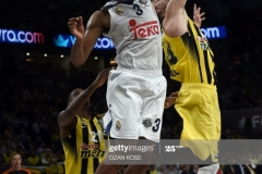 Real Madrid Anthony Randolph (C) vies with James Nunnally (L) and Jan vesely (R) during the semi-final basketball match between Fenerbahce Ulker vs Real Madrid at the Euroleague Final Four basketball matches at Sinan Erdem sport Arena on May 19, 2017 in Istanbul. / AFP PHOTO / OZAN KOSE        (Photo credit should read OZAN KOSE/AFP via Getty Images)