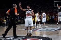 Real Madrid Sergio Llull (C) gestures towards a referee during the semi-final basketball match between Fenerbahce Ulker vs Real Madrid at the Euroleague Final Four basketball matches at Sinan Erdem sport Arena on May 19, 2017 in Istanbul. / AFP PHOTO / OZAN KOSE        (Photo credit should read OZAN KOSE/AFP via Getty Images)