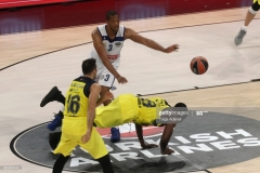 ISTANBUL, TURKEY - MAY 19: Ekpe Udoh, #8 of Fenerbahce Istanbul competes with Anthony Randolph, #3 of Real Madrid in action during the Turkish Airlines EuroLeague Final Four Semifinal A game between Fenerbahce Istanbul v Real  Madrid at Sinan Erdem Dome on May 19, 2017 in Istanbul, Turkey.  (Photo by Tolga Adanali/Euroleague Basketball via Getty Images)