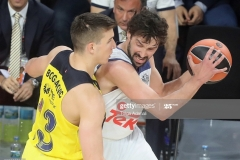 ISTANBUL, TURKEY - MAY 19: Bogdan Bogdanovic, #13 of Fenerbahce Istanbul competes with Sergio Llull, #23 of Real Madrid during the Turkish Airlines EuroLeague Final Four Semifinal A game between Fenerbahce Istanbul v Real  Madrid at Sinan Erdem Dome on May 19, 2017 in Istanbul, Turkey.  (Photo by Tolga Adanali/Euroleague Basketball via Getty Images)