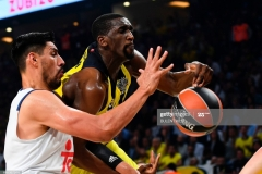 Fenerbahce's Ekpe Udoh (R) vies for the ball with Real Madrid's Gustavo Ayon (L) during the semi-final basketball match between Fenerbahce Ulker vs Real Madrid at the Euroleague Final Four basketball matches at Sinan Erdem sport Arena on May 19, 2017 in Istanbul.  / AFP PHOTO / BULENT KILIC        (Photo credit should read BULENT KILIC/AFP via Getty Images)
