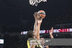 ISTANBUL, TURKEY - MAY 19:  Gustavo Ayon, #14 of Real Madrid competes with Ekpe Udoh, #8 of Fenerbahce Istanbul in action during the Turkish Airlines EuroLeague Final Four Semifinal A game between Fenerbahce Istanbul v Real  Madrid at Sinan Erdem Dome on May 19, 2017 in Istanbul, Turkey.  (Photo by Patrick Albertini/Euroleague Basketball via Getty Images)
