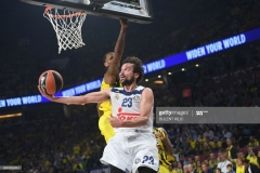 Fenerbahce's James Nunnally (L) tries to stop Real Madrid's Sergio Llull (R) during the semi-final basketball match between Fenerbahce Ulker vs Real Madrid at the Euroleague Final Four basketball matches at Sinan Erdem sport Arena on May 19, 2017 in Istanbul.  / AFP PHOTO / BULENT KILIC        (Photo credit should read BULENT KILIC/AFP via Getty Images)