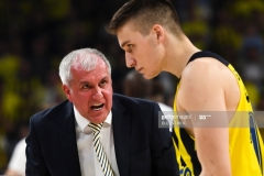 Fenerbahce's head coach Zeljko Abrodovic (L) reacts during the semi-final basketball match between Olympiacos Piraeus and CSKA Moscow at the Euroleague Final Four basketball match at Sinan Erdem sport Arena on May 19, 2017 in Istanbul.  / AFP PHOTO / BULENT KILIC        (Photo credit should read BULENT KILIC/AFP via Getty Images)
