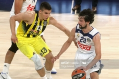 ISTANBUL, TURKEY - MAY 19: Sergio Llull, #23 of Real Madrid competes with Bogdan Bogdanovic, #13 of Fenerbahce Istanbul during the Turkish Airlines EuroLeague Final Four Semifinal A game between Fenerbahce Istanbul v Real  Madrid at Sinan Erdem Dome on May 19, 2017 in Istanbul, Turkey.  (Photo by Tolga Adanali/Euroleague Basketball via Getty Images)