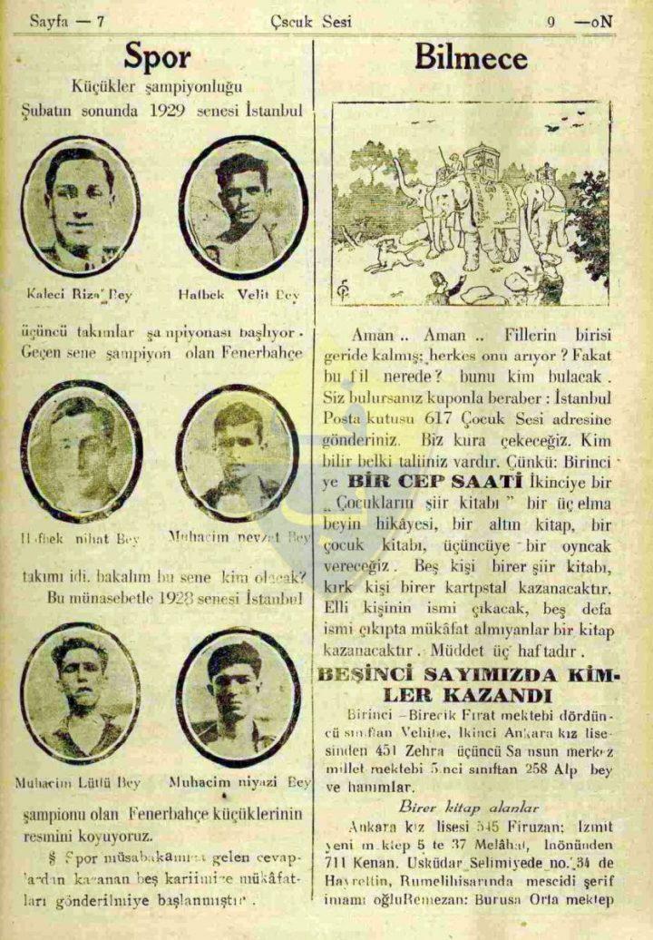 1928 Senesi İstanbul Şampiyonu Fenerbahçe Küçükleri