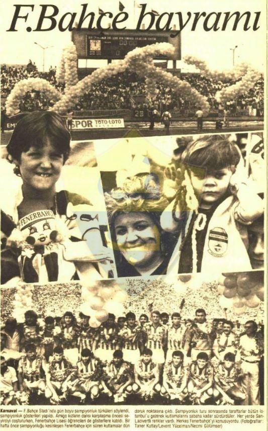 1988-1989 Şampiyonluk Turu kupürlerinden... Fenerbahçe Bayramı!